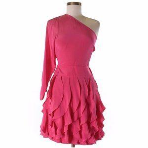 BCBGMAXAZRIA 100% SILK ONE SHOULDER DRESS